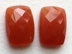Carnelian Orange Chalcedony Rose Cut Rectangle by gemsforjewels