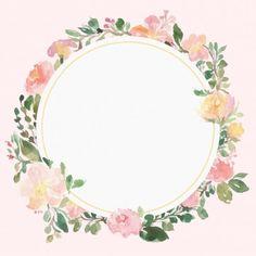 Floral frame vector beautiful wreath elegant floral collection with PNG and Vector Frame Floral, Flower Frame, Watercolor Flower Wreath, Floral Watercolor, Photo Png, Pink Pattern Background, Illustration Blume, Floral Vintage, Vintage Wreath