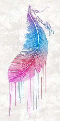 Colors of a Feather Art Print by Rachel Caldwell - Tumblr Wallpaper, Screen Wallpaper, Cool Wallpaper, Wallpaper Backgrounds, Iphone Wallpaper, Feather Art, Feather Tattoos, Watercolor Feather, Feather Design