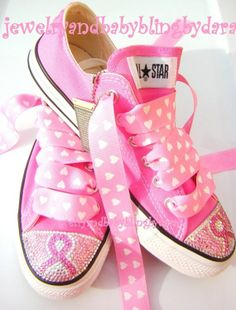 Breast Cancer Awareness Swarovski Crystal Converse Sneakers