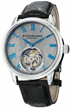 Stuhrling - Original Men's 536.3315X2 Tourbillon Limited Edition Meteorite Mechanical Stainless Steel Watch