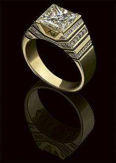 Diamonds and gold Mens Gold Rings, Gold And Silver Rings, Rings For Men, Classic Wedding Rings, Wedding Rings Solitaire, Gold Jewelry, Jewelry Rings, Jewelry Accessories, Mens Ring Designs