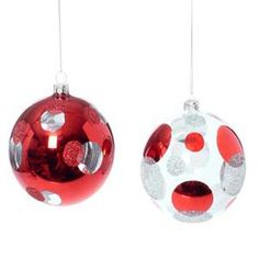 "Red and Silver Polka Dot Ball Christmas Ornament from Raz Set of 2 (one of each style) 4"" Made of glass Large clear glass balls with red and silver polka dots."