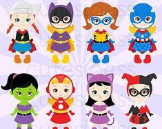 Super Hero Series 5 Digital Clipart : 10 Graphics  ----------------------- ★★ Package Included ★★-----------------------------------  *You will received a total of 10 Files in PNG Format with TRANSPARENT background, Size of 6~7 Inches at tallest/widest point of 300 DPI resolution.  * 8 Main Characters * Background, Paper, and other supporting items as shown. * Watermark will not appear on Actual Products * FREE Small Commercial Use --------------------★★ INSTANT DOWNLOAD ★★--------------...
