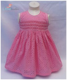 Pink Hand Smocked Cutwork Fabric Cotton Dress by LittleSmock