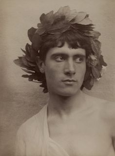 Baron Wilhelm von Gloeden -'Youth with wreath on head' c. 1900
