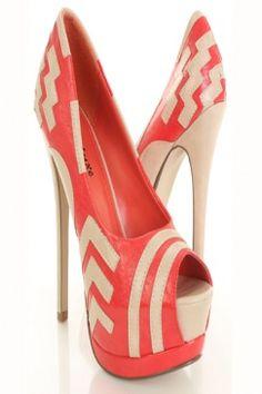Coral Faux Leather Pattern Two Tone Peeptoe Platform Pump Heels