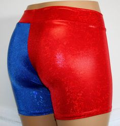 Harley Quinn Suicide Blue Red Boy Booty Shorts Adult Medium ...