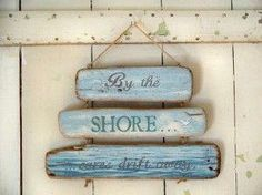 The Beach Chic Distressed Blue Turquoise Heart, Crackled and Worn Blue Glazed over Terracotta, 5 Inches Diameter, cm.) By Whole House Worlds - Home Style Corner Beach House Signs, Beach Signs, Home Signs, Nautical Nursery Decor, Nautical Home, Coastal Decor, Beach Sign Sayings, Driftwood Signs, Painted Driftwood