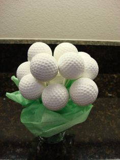 Golf Ball Cake Pops-another opportunity for a catering company or cake company to showcase their product while showcasing a silent auction item