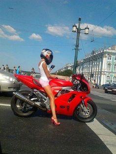 <--so me heels on a bike..love it<33