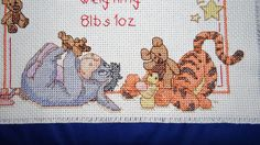 Pattern followed for cross stitch baby birth sampler - great gift idea