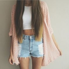 cardigan pink kimono pastel  outfit shorts