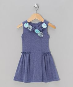 Take a look at this Indigo Jersey Dress with Flower Detail - Infant, Toddler & Girls  by Malvi on #zulily today!
