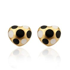 18K Gold Mini Heart Shaped & Onyx Gems Earrings Made with Swarovksi Elements only by: Rubique Jewelry, Women's