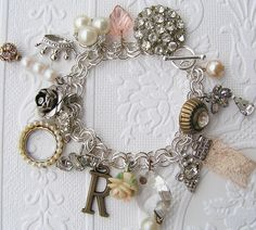 vintage jewelry repurposed - I need to remember the lace ribbon piece for my bracelet.