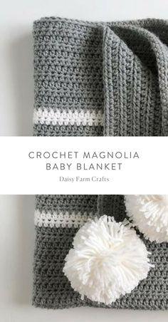 Free Pattern - Crochet Magnolia Baby Blanket #crochet