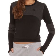NIKE Tech Fleece Crew Brand new with tags. I'm absolutely in love with this crewneck; I'm probably going to order a different size. Black and dark grey! Nike Tops Sweatshirts & Hoodies