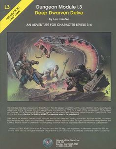 L3 Deep Dwarven Delve (1e) | Book cover and interior art for Advanced Dungeons and Dragons 1.0 - Advanced Dungeons & Dragons, D&D, DND, AD&D, ADND, 1st Edition, 1st Ed., 1.0, 1E, OSRIC, OSR, Roleplaying Game, Role Playing Game, RPG, Wizards of the Coast, WotC, TSR Inc. | Create your own roleplaying game books w/ RPG Bard: www.rpgbard.com | Not Trusty Sword art: click artwork for source