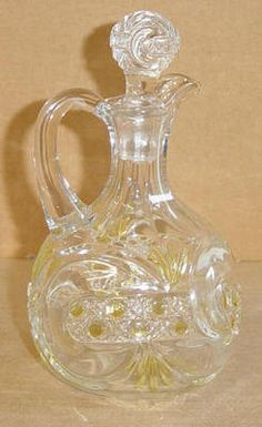 EAPG  1895 WEST VIRGINIA GLASS YELLOW AMBER STAINED SCROLL WITH CANE BAND CRUET