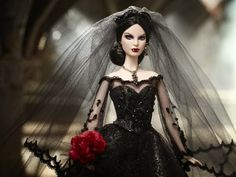 """spookyloop: """" socialpsychopathblr: """" Barbie: Haunted Beauty collection """" Designed by Bill Greening From top to bottom: Vampire Bride, Vampire, Mistress of the Manor The collecition also features a. Barbie Blog, Barbie Dolls For Sale, Barbie Barbie, Beautiful Barbie Dolls, Pretty Dolls, Dracula, Barbie Centerpieces, Vampire Barbie, Barbie Convention"""