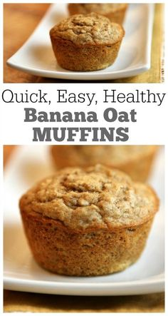 Quick, EASY, and healthy Banana Oat Muffins Recipe: nutritional information and Weight Watchers Points included.  Each muffin = 3 WW points and 128 calories.