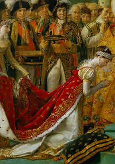 Josephine kneels to be crowned by Napoleon, detail from Coronation of Napoleon in Notre-Dame | Jacques-Louis David. Second largest painting in the Louvre.