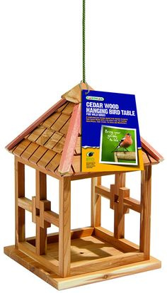 This new hanging bird table from Gardman is made from aromatic red cedar wood with a tile effect roof. Height 33.5cm x Width 20cm x Depth 20cm