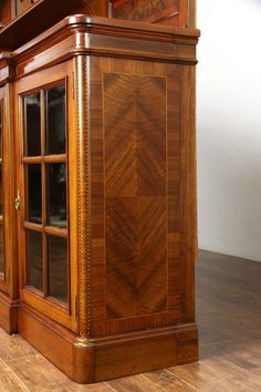 Walnut Victorian Step Back Bookcase Original Gl China Cabinet Circa 1875 Ebay Jim Clark Pinterest Cabinets And Originals