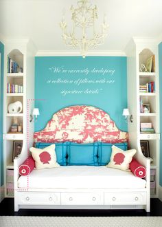 turquoise, pink, and pattern.  whimsical girls room by massucco, warner, miller.