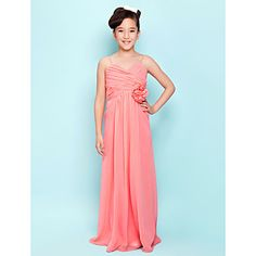 Sheath/Column Spaghetti Straps Floor-length Chiffon Junior Bridesmaid Dress – USD $ 99.99