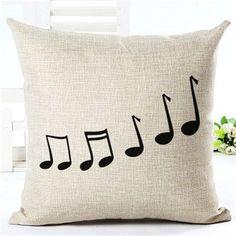 Music Series Note Printed Linen Cotton Square 45x45cm Home Decor Houseware Throw Pillow Cushion