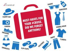 What to pack for your next cruise. Thanks @Carnival Cruise Lines for the awesome tweet with this graphic.