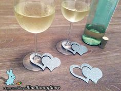 Wine Charms Wine Tags Name Tags Double Heart by BlueBunnyStore