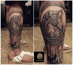 #wolfspirit #Custom #Design #nature #blacandkgrey #beautiful #art #passion #love #calf #tattoo #leotattoos #matunga #Mumbai #India