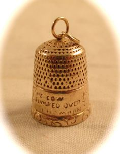 """Vintage 14k GOLD THIMBLE CHARM Pendant 14k Gold Sewing Thimble Charm Hey Diddle Diddle Nursery Rhyme """"The Cow Jumped Over The Moon"""".."""