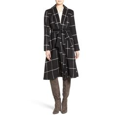 Women's Bb Dakota 'Braylee' Windowpane Plaid Midi Coat (€140) ❤ liked on Polyvore featuring outerwear, coats, black, bb dakota coat, belted wool coat, belted coat, flared coat and flare coat