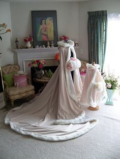 Sleeping Beauty Bridal Cape Champagne / Ivory Satin 96 inch Wedding Cloak Handmade in USA by capeandcrown13 on Etsy