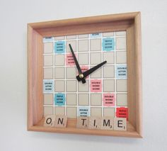 Wall Clock Recycled Scrabble Board & Rack by MissCourageous Scrabble Letter Crafts, Scrabble Board, Scrabble Tiles, Scrabble Coasters, Board Game Pieces, Game Boards, Board Games, Diy Clock, Clock Ideas