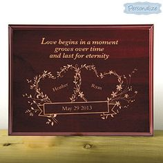 Personalized Wedding Plaque It S All About Love On This Elegant Wood