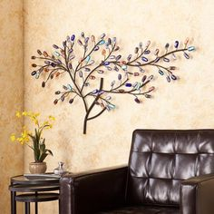 Brenchan Metal/Glass Tree Wall Sculpture - Southern Enterprises nature in your home with this elegant tree wall sculpture and allow the morning sunlight to wink and dance across its glass leaves. The metal branches, finished in black, are de Metal Tree Wall Art, Metal Wall Decor, Metal Art, 3d Wall, Tree Sculpture, Wall Sculptures, Tree Wall Decor, Wall Art Decor