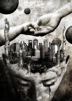 Digital Art by SheerHeart. mente ciudad presiones ayuda manos