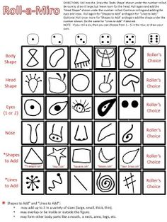 "Looks like fun! ""Roll-a-Miro. Roll dice to make a Miro creature. Could do this with Picasso, and . Art Sub Plans, Art Lesson Plans, Middle School Art, Art School, Documents D'art, Art Sub Lessons, Arte Elemental, Art Handouts, Art Worksheets"