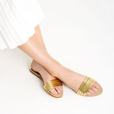 METALLIC STRAPPY SLIDES | vegan shoes | vegan sandals