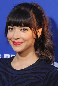 Hannah Simone's ponytail is perfect for brides with bangs   Brides.com