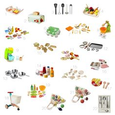 Non-toxic, eco-friendly play kitchen food and accessories.