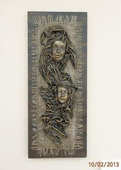 """Mixed Media, """"2 Faces"""" Fabric Sculpture Wall Art, Unique and Original R112"""