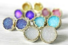 20% OFF SALE   New Stock!!!  These are the real deal :: Handmade in our studio  Sparkling top quality druzy crystal has been dipped in silver.