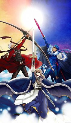 Fate/Stay Night - The Three Knight Classes: Archer, Saber, and Lancer