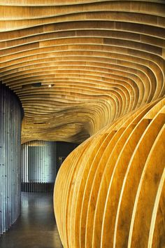 """Genexis Theater"": Lined with parallel sheets of plywood, the lobby areas of this theater in Singapore provide acoustic dampening as well as a dramatic entrance to the award-winning stage; Fusionopolis complex, Singapore 